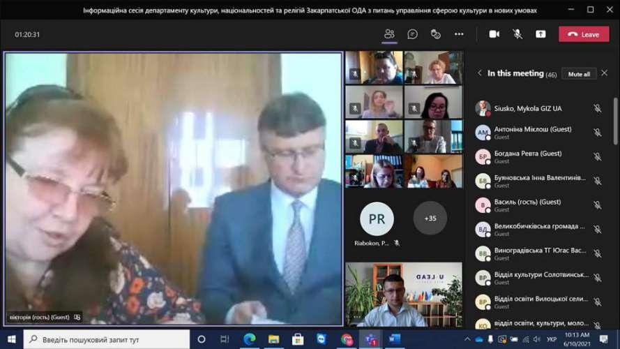 Онлайн-зустріч з питань управління сферою культури в нових умовах